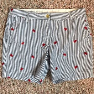 Talbots pinstriped shorts w/embroidered crabs.